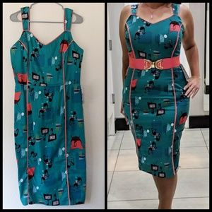 Retro pinup wiggle dress SO CUTE sz 12/L UK14 NWT